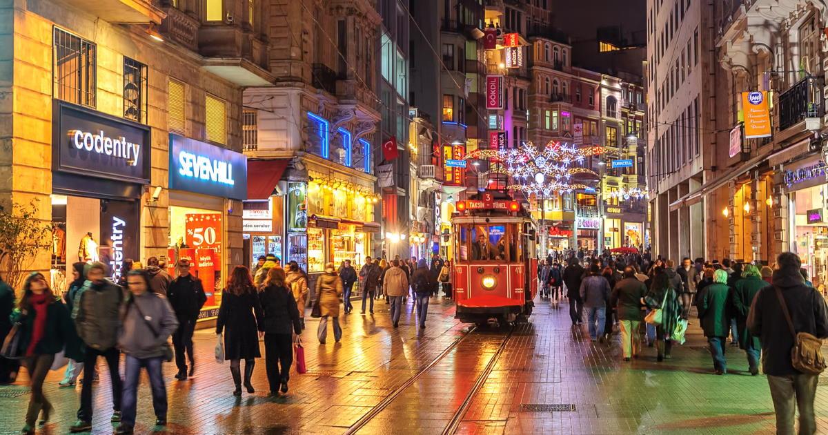 Beyoglu at Night Itanbul Turkey
