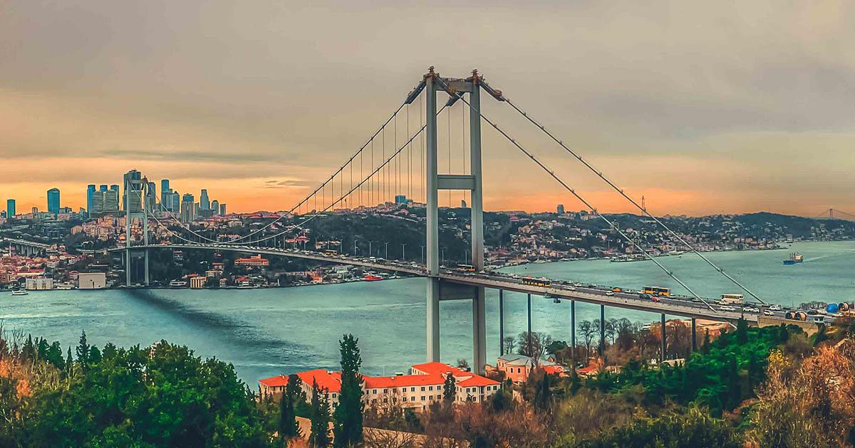panoramic bosphorus bridge view in istanbul