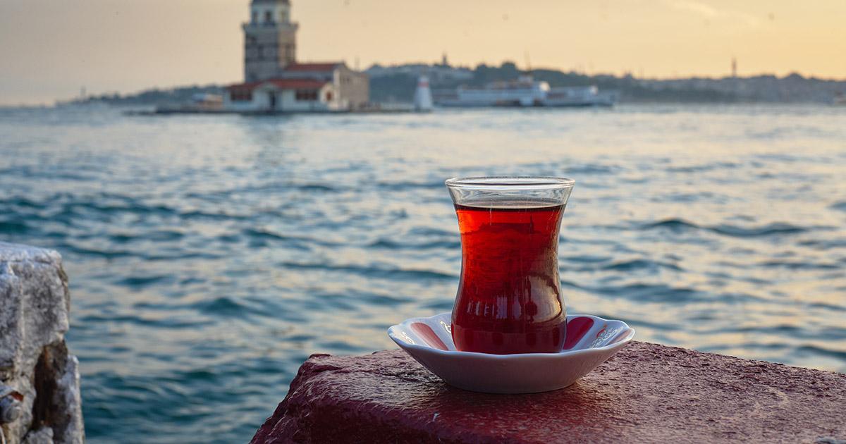 Tea in Istanbul towards bosphorus