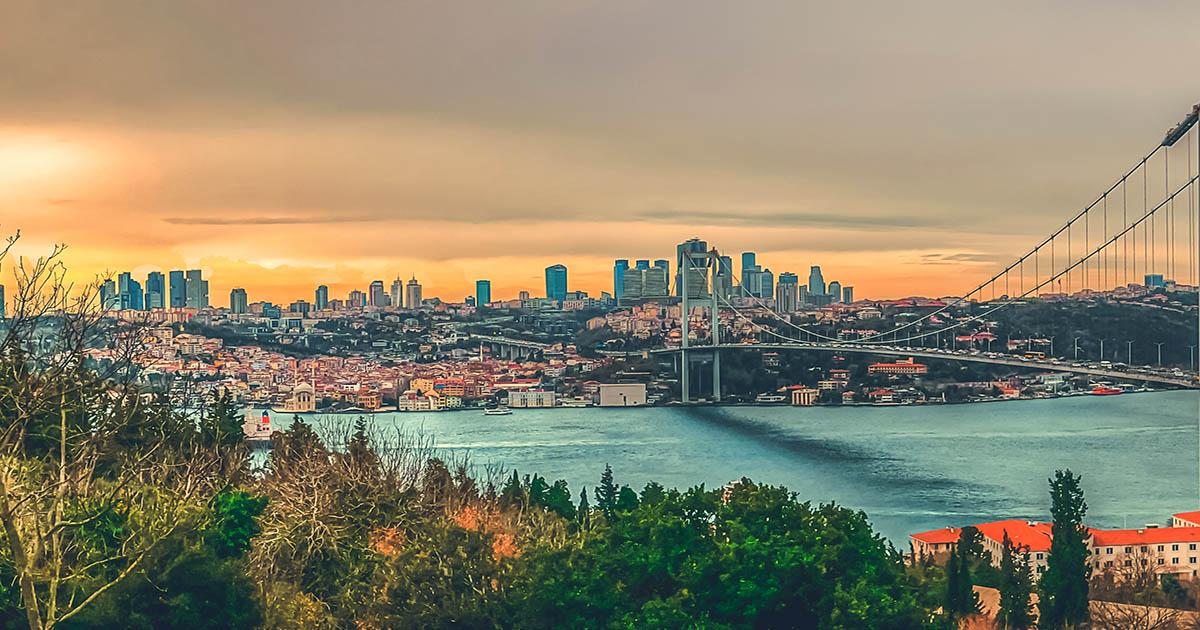 istanbul skyline panoramic bosphorus in istanbul