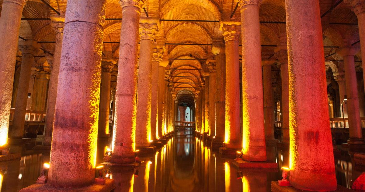 Basilica Cistern in Istanbul in Turkey